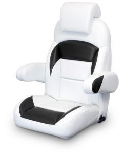 Lexington High Back Reclining Helm Seat with Arms & Headrest, White and Black