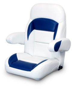 Lexington High Back Reclining Helm Seat with Arms, White and Navy