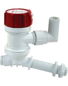 """Rule Tournament Series Angled Mounting 500 GPH Cartridge Livewell Aerator Pump; 3/4"""" Dia. Inlet, Dual 3/4"""" Dia. outlet"""