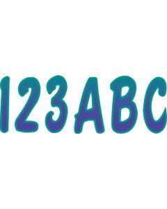 """Hardline Series 200 3"""" Boat Decal Letter & Number Set, Teal/Purple"""