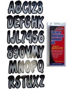 """Hardline Series 200 3"""" Boat Decal Letter & Number Set, Black/Silver"""