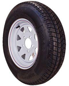 Loadstar Kenda Bias Tire & Spoke Steel Wheel Assembly, LRB, White with stripe, 5 on 4.5