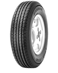 Loadstar Kenda KR03 Radial Tire w/ Spoke Steel Wheel, White w/ Stripe, ST215/75R-14, LRC, 5 on 4.5