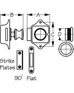 Seadog Push Button Rim Latch - Chrome