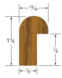 """Whitecap Rail Edge Molding 1-3/8""""H x 13/16""""W, 5' length"""