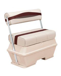 Wise Premier Pontoon 50 Quart Cooler Flip-Flop Seat, Platinum-Platinum Punch-Wineberry-Manatee