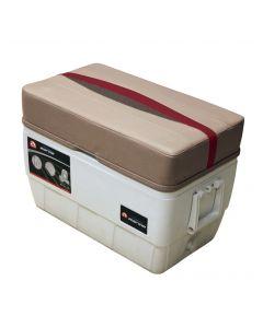 Wise Premier Pontoon 48 Quart Igloo Cooler with Cushion, Mocha-Mocha Java Punch-Dark Red-Rock Salt