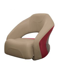 Wise Premier Pontoon Bucket Seat with Flip-up Bolster, Mocha-Mocha Java Punch-Dark Red-Rock Salt