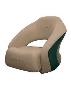 Wise Premier Pontoon Bucket Seat with Flip-up Bolster, Mocha-Mocha Java Punch-Evergreen-Rock Salt