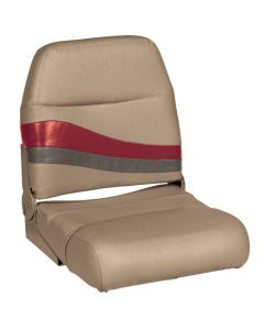 Wise Premier Pontoon Fold Down Boat Seat, Mocha-Mocha Java Punch-Dark Red-Rock Salt