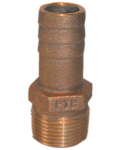 Groco Straight Pipe To Hose Barb Fitting, Standard Flow, 1-1/4 Npt X 1-1/8 Hose Id