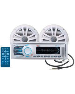 Boss Audio White Marine Audio System MCK 1306 AM FM MP3 Marine Digital Receiver with Speakers - Boss