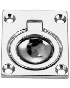 Seachoice Flush Ring Pull, 1 1/2 X 1 3/4 , Chrome Plated, Cast Brass