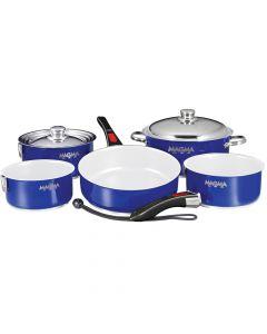 Magma 10-Piece Gourmet Nesting Cobalt Blue Cookware Set w/Ceramica Non-Stick