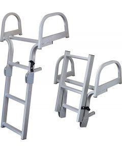 "JIF Marine, LLC Folding Double Wide Pontoon Ladder, 3-Step, 46.6"" - JIF Marine Products"