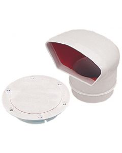 """Seadog 4"""" Pvc Low Profile Cowl Vent, White W/Red Interior"""