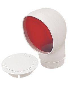 """Seadog 3"""" Pvc Standard Profile Cowl Vent, White W/Red Interior 727135-3"""