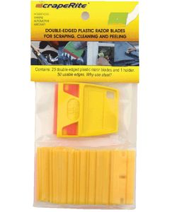 Scraperite Yellow Plastic Razor Blades, 25/Pack