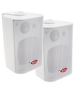 Boss Audio MR4.3W 4 3-Way Marine Enclosed System Box Speaker - 200W - White
