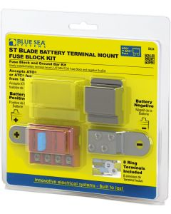 Blue Sea Systems Battery Terminal Mount, Fuse Block ST Blade 4 Circuit Kit