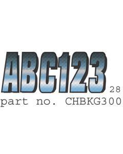 Hardline Boat Registration Decals Series 300 Kit, Carbon Fiber, 328-Blbkg300, Blue & Black