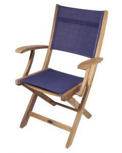 SurfStow Bimini Folding Deck Armchair with Blue Textilene Fabric