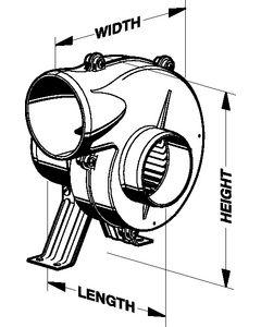 """Jabsco Flex Mount Blower, 3"""", 12v Dc 105 Cfm"""