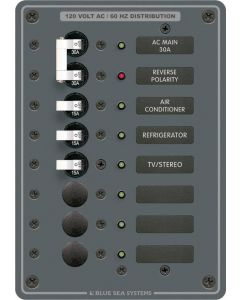 Blue Sea Systems AC Circuit Breaker Main + 6 Position Panel, 120V
