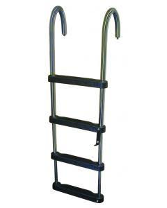 JIF Marine, LLC Jif Marine 4 Step Telescoping Ladder, Stainless 316 Pontoon & House Boat Ladders