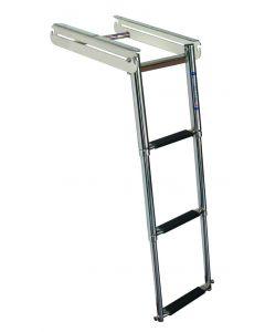 JIF Marine, LLC 3 Step Under Platform Sliding Ladder, Spring Loaded Latch, Stainless 316 - Jif Marine