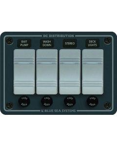 Blue Sea Systems Horizontal Waterproof Series Switch Panel, 4-Gang, Gray