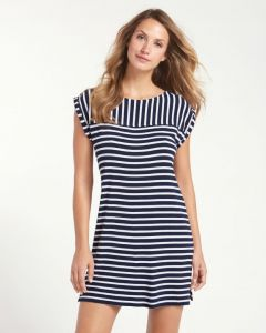 Tommy Bahama Women's Breton Stripe Rolled-Sleeve Dress