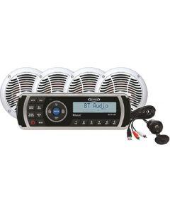 Jensen Audio JENSEN CPM200 AM/FM/USB Waterproof,  Bluetooth Stereo Package w/MS2013BT,  Aux Input & 4-AMS602W Speakers