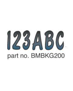 Hardline Boat Registration Decals Series 200 Kit, 328-Bmbkg200, Blue Metallic & Black