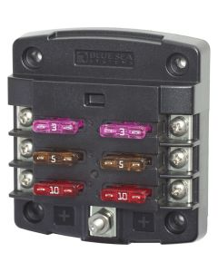 Blue Sea Systems 5033 ST Blade Fuse Block without Cover, 6 Circuit without Negative Bus