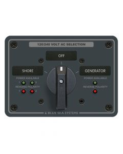 Blue Sea Systems 8369 AC Rotary Switch Panel, 65 Amp, 2 Positionplus Off, 4 Pole