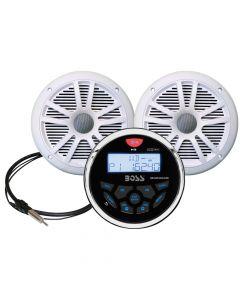 Boss Audio MCKGB350B.6 Combo - Marine Gauge Radio w/Marine Antenna & 2 6.5 Speakers - White