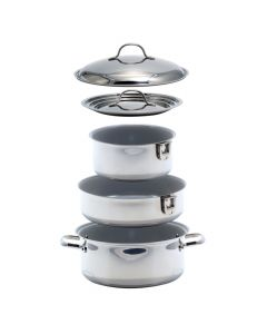 Kuuma 7-Piece Ceramic Nesting Cookware Set - Stainless Steel w/Non-Stick Coating - Induction Compatible - Oven Safe
