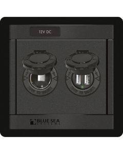 Blue Sea Systems Blue Sea 360 Panel - 12V DC Socket & Dual USB Charger