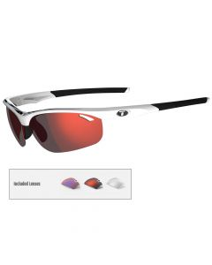 Tifosi Veloce Interchangeable Lens Sunglasses - White/Black - Clarion Red/AC Red™/Clear