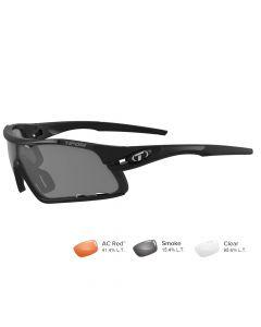 Tifosi Davos Matte Black Sunglasses - Smoke/AC Red™/Clear