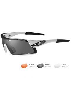 Tifosi Davos White/Black Sunglasses - Smoke/AC Red™/Clear