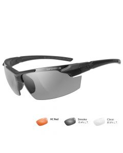 Tifosi Z87.1 Jet FC Matte Black Tactical Sunglasses - Smoke/HC Red/Clear