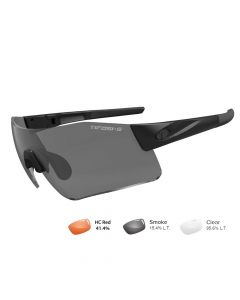 Tifosi Z87.1 Blockade Matte Black Tactical Safety Sunglasses - Smoke/HC Red/Clear